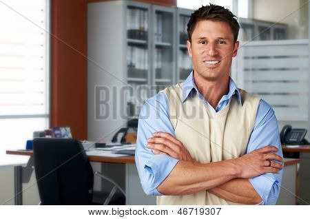 Successful casual business man at office