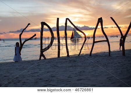 Silhouette Word Friday Made ??of Wood On Boracay Island