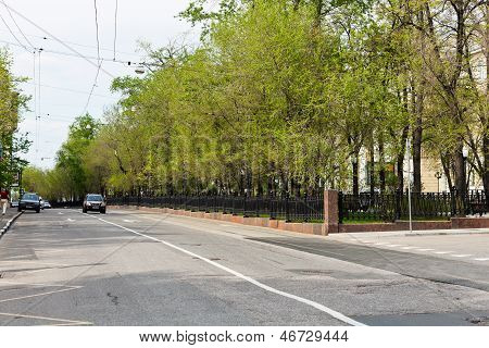 Roadway Of Pokrovsky Boulevard In Moscow, Russia