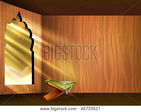 Open Islamic religious holy book Quran SHareef on shiny rays background for month of Ramadan Kareem. poster