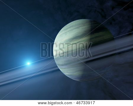 Giant Extrasolar Gas Planet With Ring System