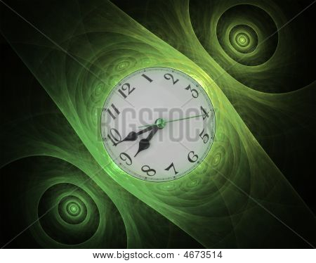 Beautiful fractal Wrist Watch abstract in green tones. poster