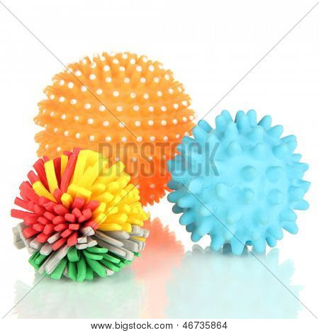 Rubber toys for pets isolated on white poster