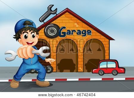 Illustration of a happy boy in front of a garage