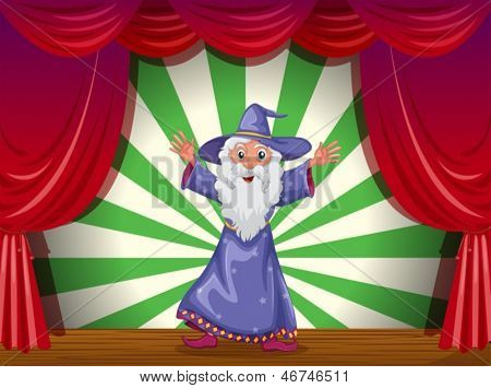 Illustration of a wizard doing magic on the stage
