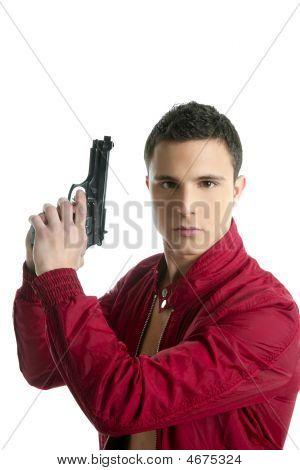 Handsome Private Agent Portrait With Gun