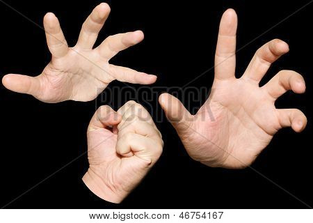 Hand Action, Hold Out One Hand And Punch Isolated Background