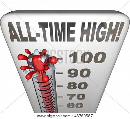 All-Time High words on a thermometer illustrating increasing heat or score to be the highest on record