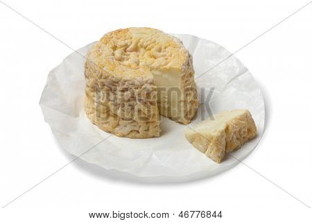 Langres cheese wrapped in paper on white background poster