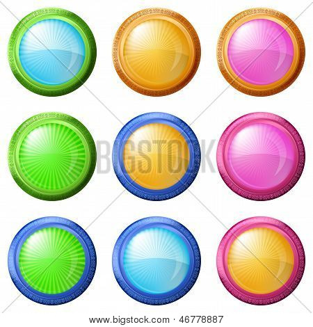 Colorful round buttons, set