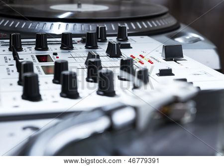 Turntable, Vinyl And Sound Mixer