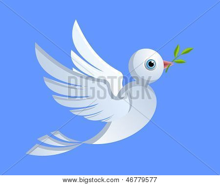 Flying dove of peace with green twig poster