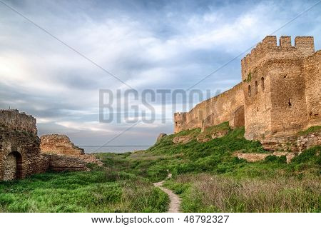 Citadel on the Dniester estuary. Old fortress in town Bilhorod-Dnistrovski Odessa region. The South of Ukraine poster