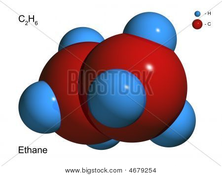 Isolated 3D model of a molecule of ethane on a white background poster