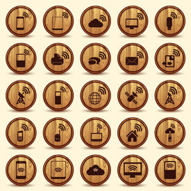 Wood WiFi icons. Mobile and wireless Buttons.