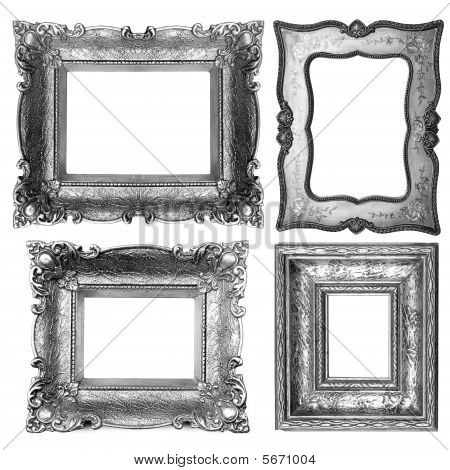 Old Silver Picture Frame Isolated On White Background poster