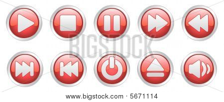 Player icons buttons (vector)