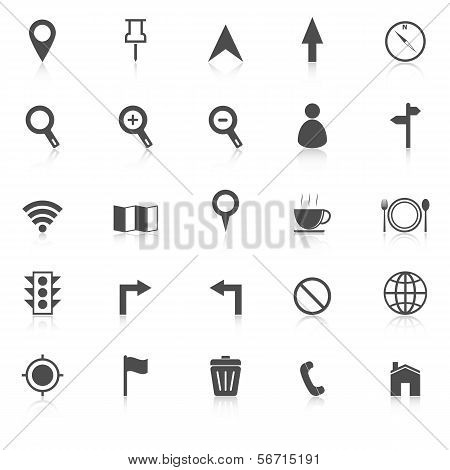 Map Icons With Reflect On White Background