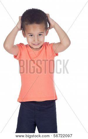 Little Boy With Organge Shirt