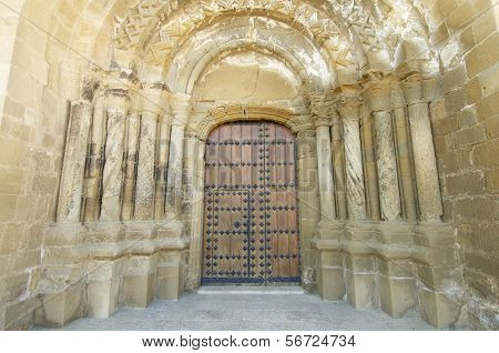 Entrance to the church of Santa Maria in Ejea de los Caballeros, saragossa, Spain poster