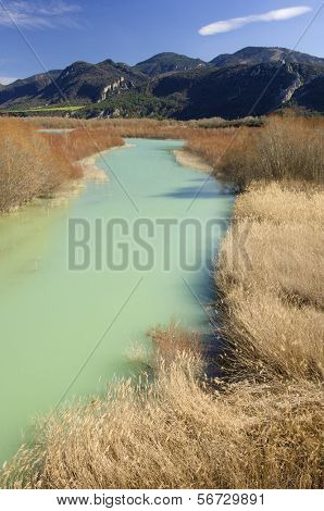 green river in a mountainous area of reed beds