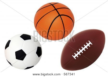 Soccer Basket And Foot Ball Isolated On White