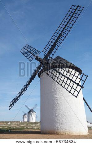 group of  traditional windmills in Campo de Criptana, Ciudad Real, Castilla La Mancha, Spain