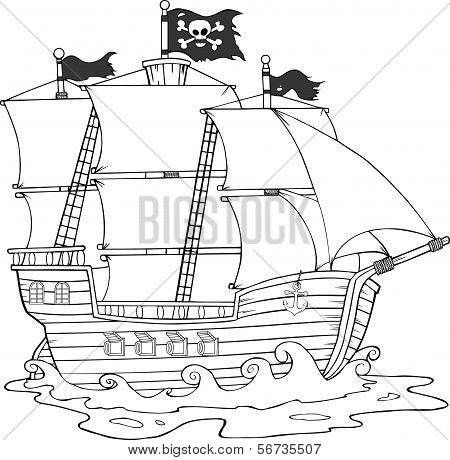 Black And White Pirate Ship Sailing Under Jolly Roger Flag Cartoon Character poster