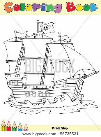 Pirate Ship Coloring Book Page