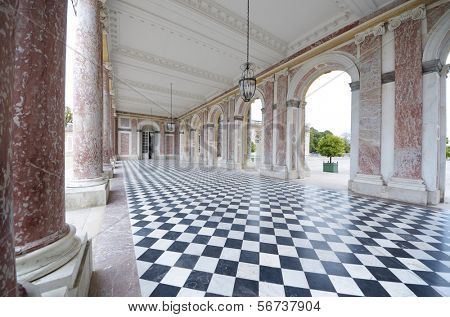 colonnaded courtyard at the Grand Trianon in Palace  Versailles, France. The Grand Trianon was a private place for the king.