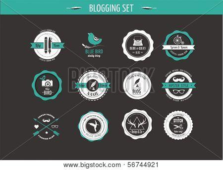 Set of retro vintage badges, blog elements and labels, black backgound