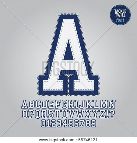 Blue Tackle Twill Alphabet And Digit Vector