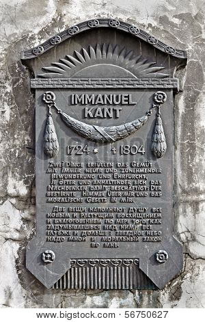 KALININGRAD, RUSSIA - March 3, 2013: Memorial Board In Honour Of German Philosopher Immanuel Kant