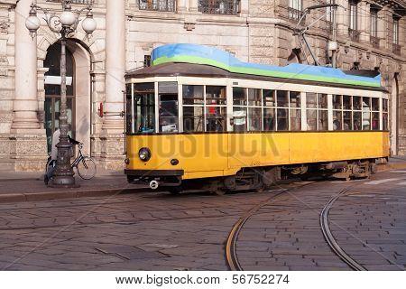 Vintage Tram On The Milano Street