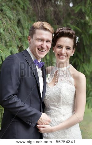 Just Married Couple Laughing