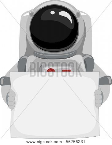 Illustration of an Astronaut Holding a Blank Banner