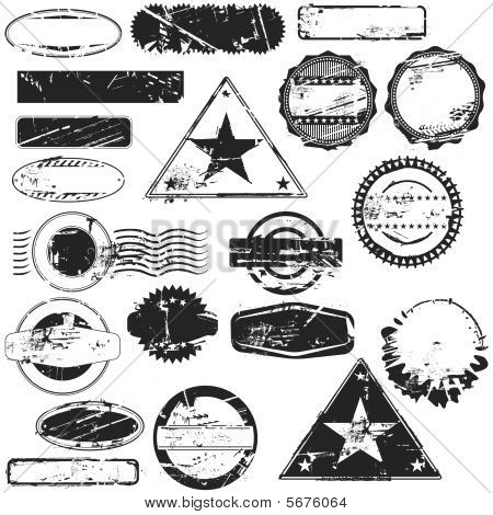 Collection of empty rubber stamps for your text. See other rubber stamp collections in my portfolio. poster