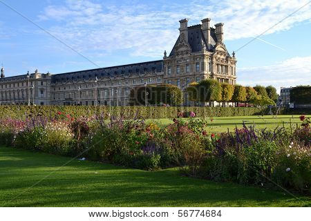 View of Louvre Museum from the Tuileries Garden in Paris, France
