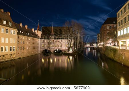 Night view at the Holy Ghost Hospital in Nurnberg, Germany
