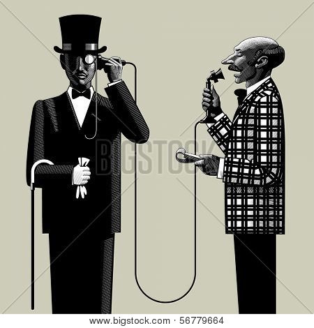 Vector image in the style of vintage engraving of two men of business in retro suits connected with the retro phone