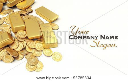 A fortune in gold ingots and coins with lots of copy