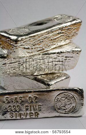 Stacked Silver Bullion Bars - Poured Ingots