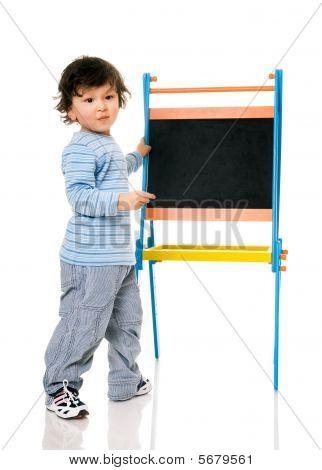 Boy With Chalkboard.