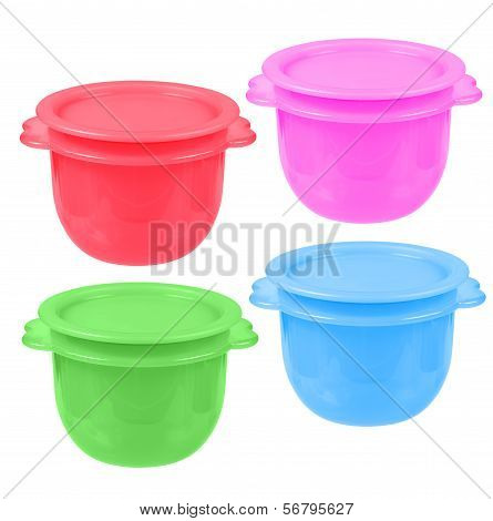 Plastic Containers For Liquid Food Isolated On White. Collage