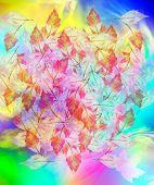 Autumnal foliage. Watercolour background. poster