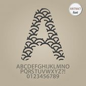 Set of Abstract Fish Scale Alphabet And Digit Vector poster