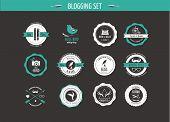 Set of retro vintage badges, blog elements and labels, black backgound poster