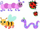 Here is a handy collection of a caterpillar, ladybugs, cute bee, and purple worm. poster