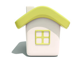 Simple 3D Yellow House Front View