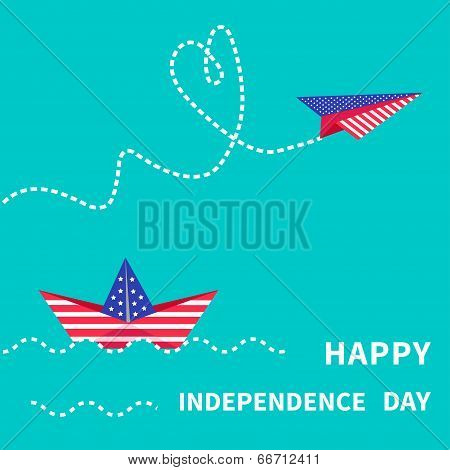 Happy independence day United states of America. 4th of July. Paper boat and paperplane. Dash line.